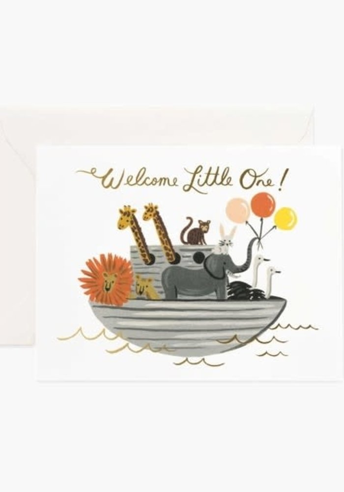 """""""Welcome Little One"""" Ark Gold Foil Card"""