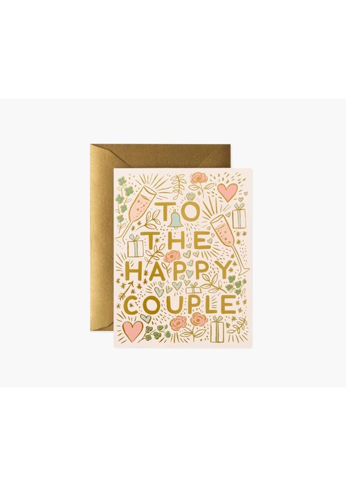 """Rifle Paper """"To The Happy Couple"""" Gold Foil Card"""