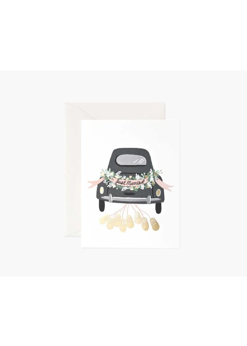 """Rifle Paper """"Just Married"""" Getaway Car Gold Foil Card"""