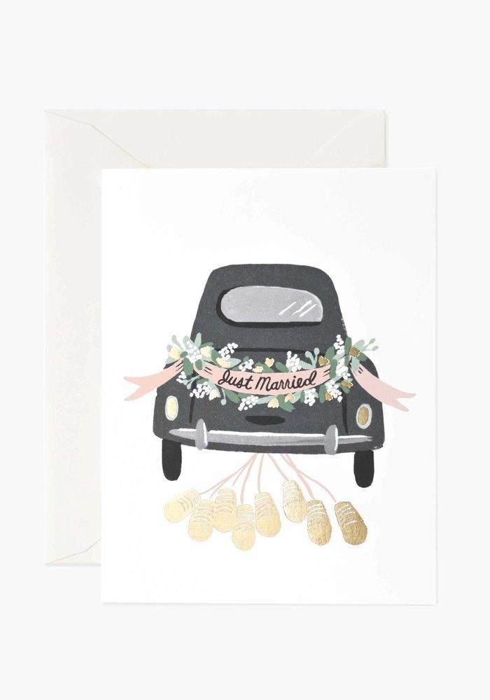"""Just Married"" Getaway Car Gold Foil Card"
