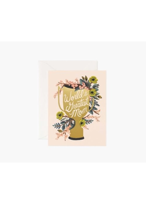 """Rifle Paper """"World's Greatest Mom"""" Gold Foil Card"""
