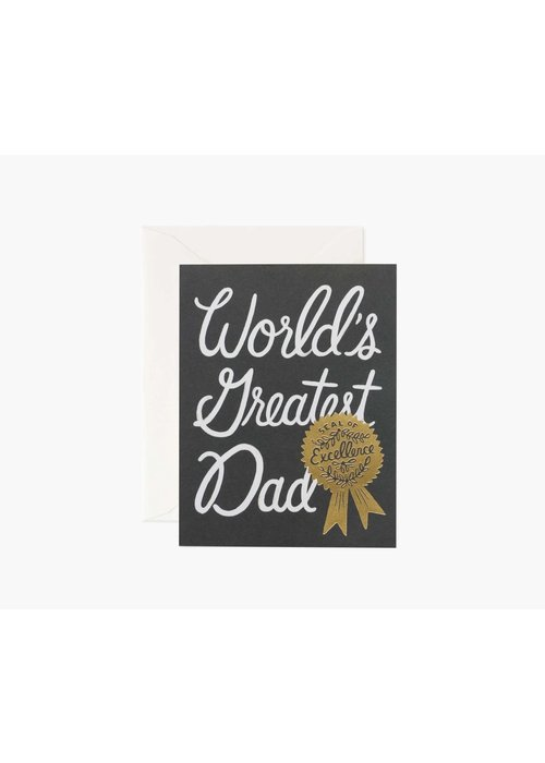 """Rifle Paper """"World's Greatest Dad"""" Gold Seal of Excellence Card"""