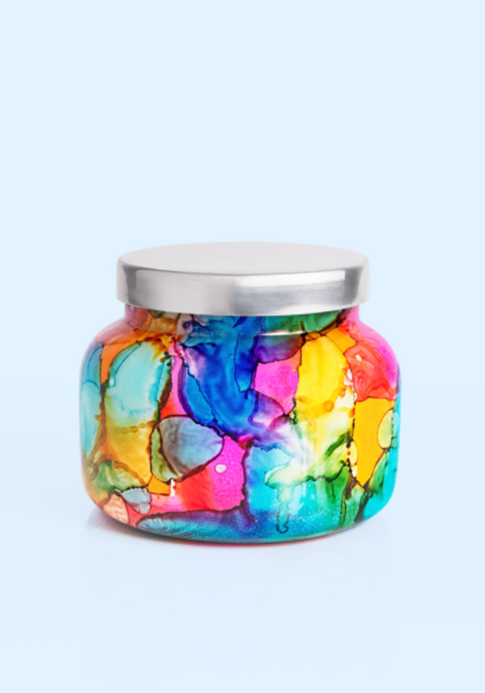 Volcano Rainbow Watercolor Jar Candle
