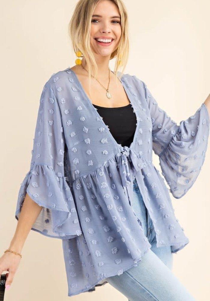 Dusty Blue Peplum Front Tie Kimono