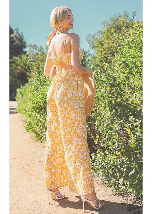 Floral Back Tie Jumpsuit