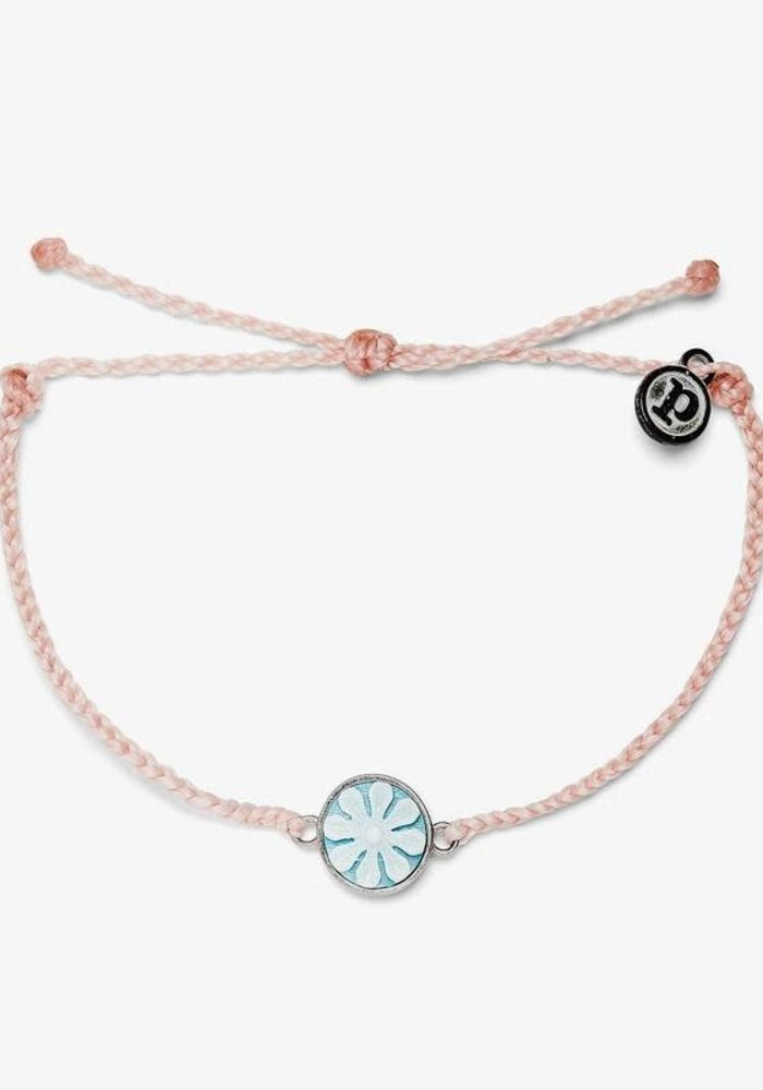 Baby Pink Silver Cameo Charm Bracelet