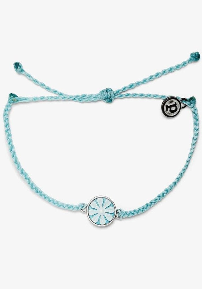 Ice Blue Silver Cameo Charm Bracelet