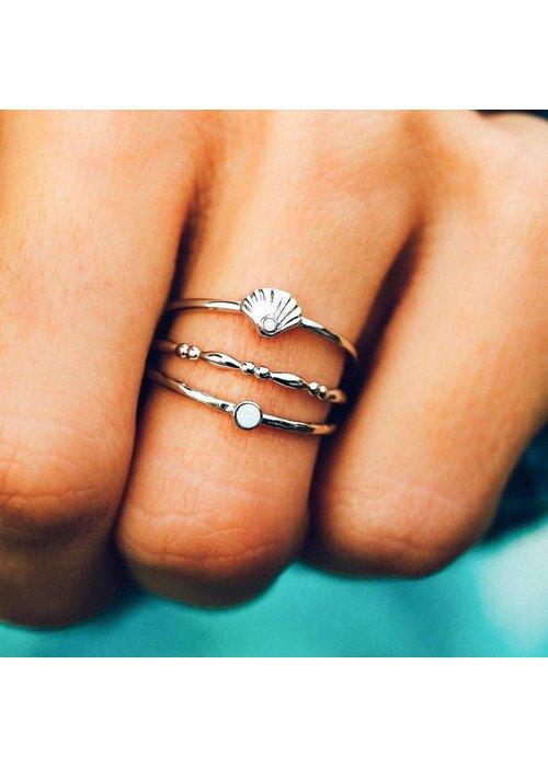 Pura Vida Opal Shell Ring Stack