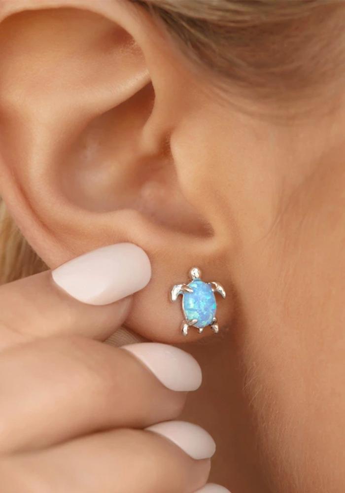 Opal Sea Turtle Earrings
