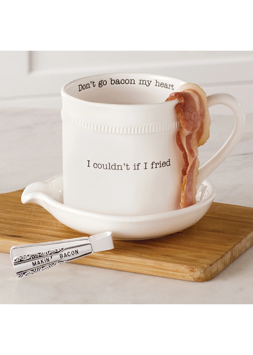 """Mudpie """"Couldn't If I Fried/Don't Go Bacon My Heart"""" Bacon Cooker Set"""