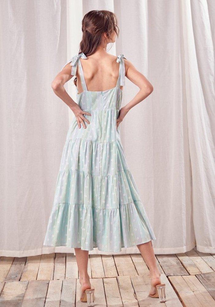 Striped Daisy Midi Dress