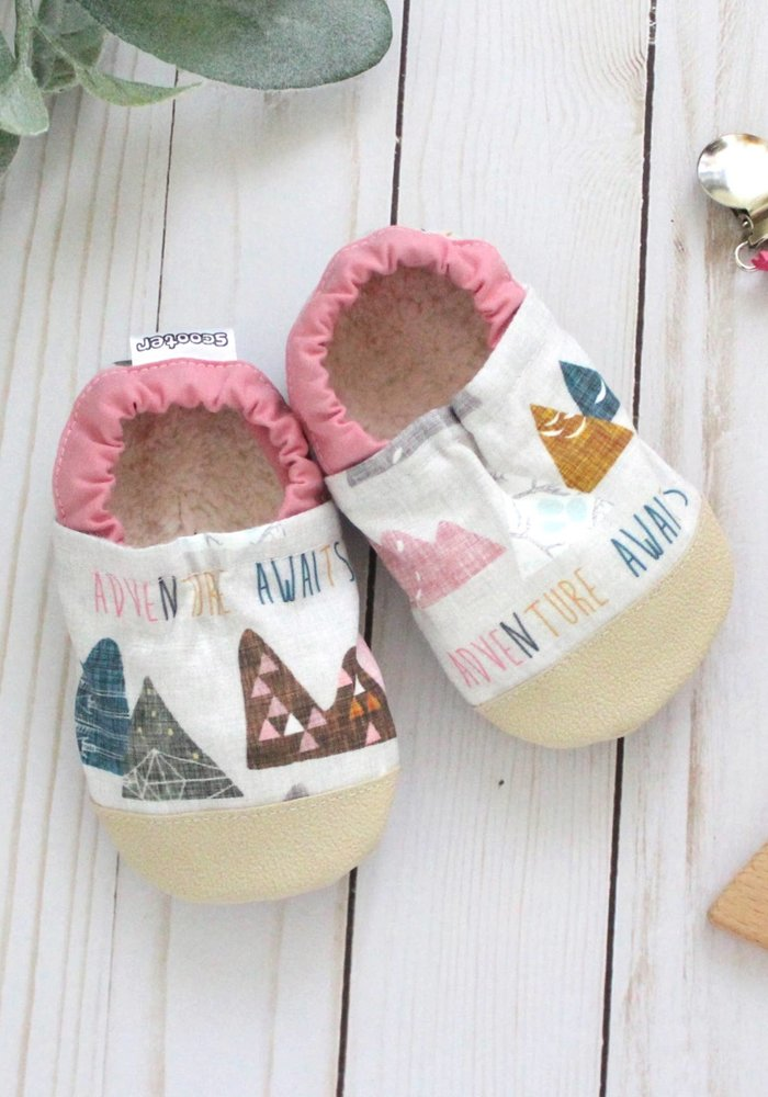 """""""Adventure Awaits"""" Pink Mountains Rubber Sole Booties"""
