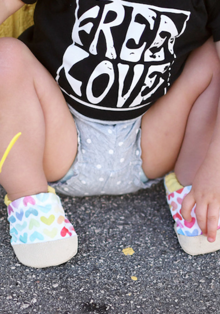 Watercolor Hearts Rubber Sole Booties