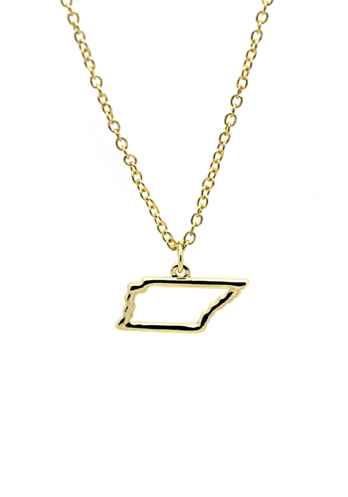 """""""Sweet Sound, Tennessee"""" State Outline Necklace"""