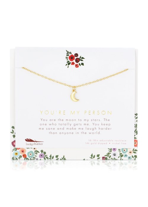"""Lucky Feather """"You're My Person"""" Gift Necklace"""