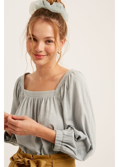 Square-Neck Puff Sleeve Top