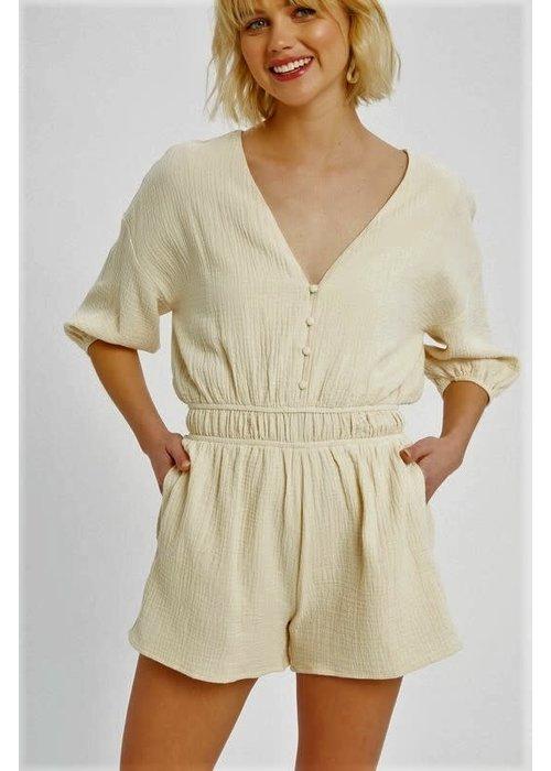 3/4 Sleeve Textured Cotton Romper