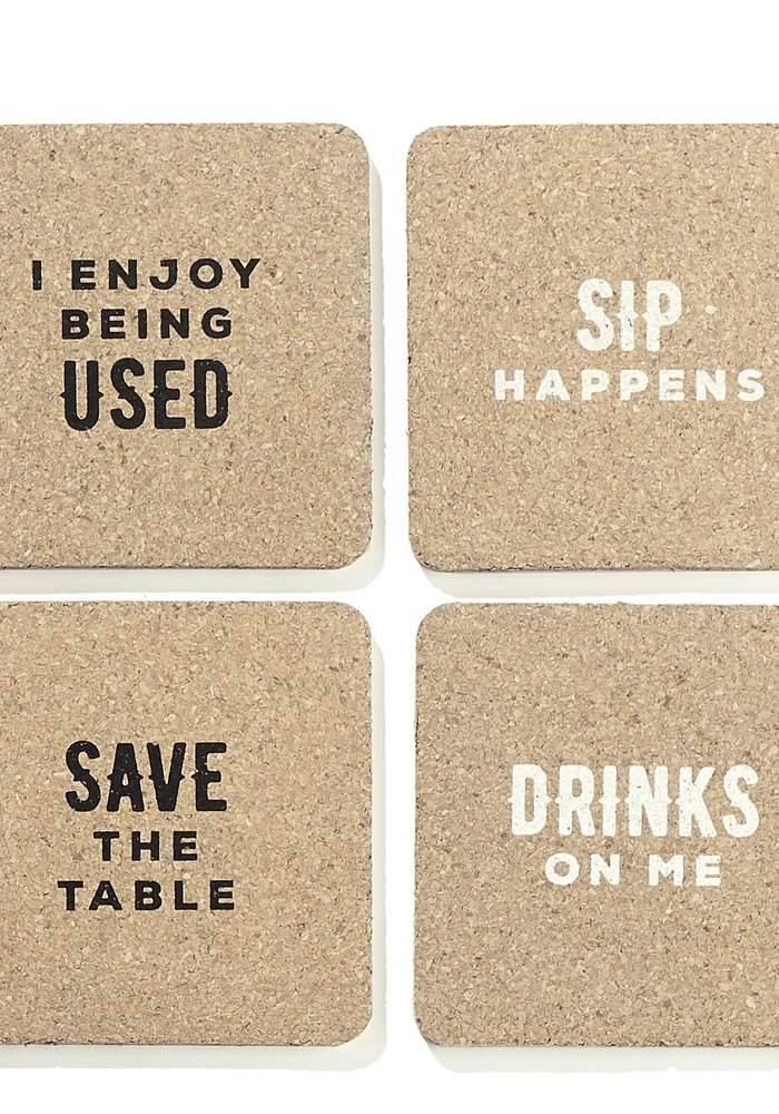 Drink Puns Square Cork Coasters Pack