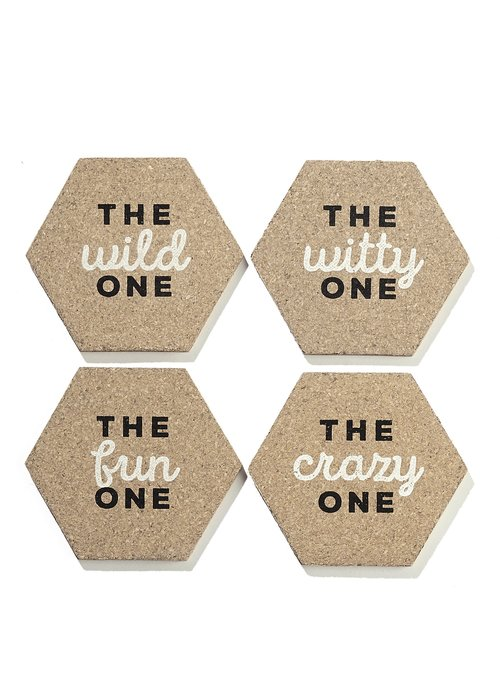 """""""The _____ One"""" Hexagon Cork Coasters Pack"""