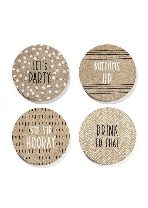 Celebration Round Cork Coasters Pack