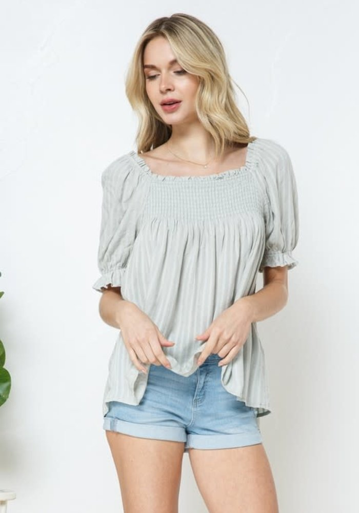 Smocked Striped Peasant Blouse