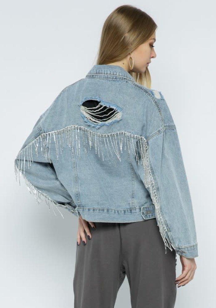 Rhinestone Fringe Denim Jacket
