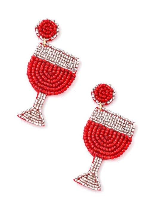 Wine Glass Beaded Earrings