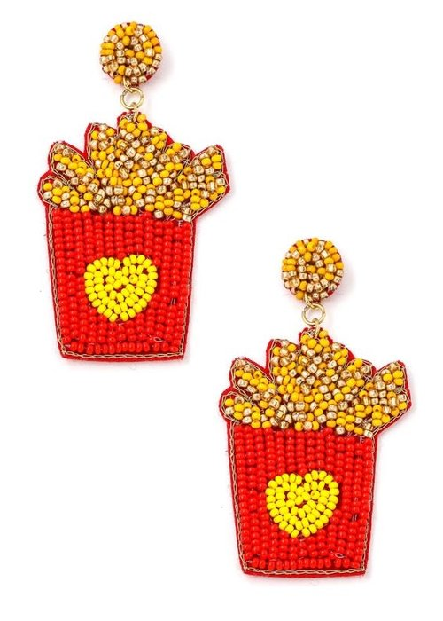 Beaded French Fry Earrings