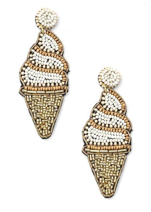 Ice Cream Cone Beaded Earrings