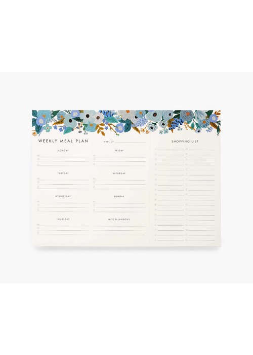 """Rifle Paper """"Garden Party Blue"""" Weekly Meal Planner Notepad"""