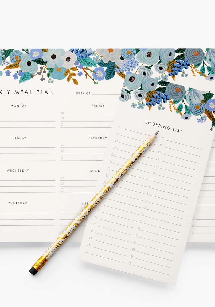 """""""Garden Party Blue"""" Weekly Meal Planner Notepad"""