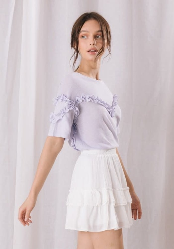 Lilac Ruffle Trim Knit Top