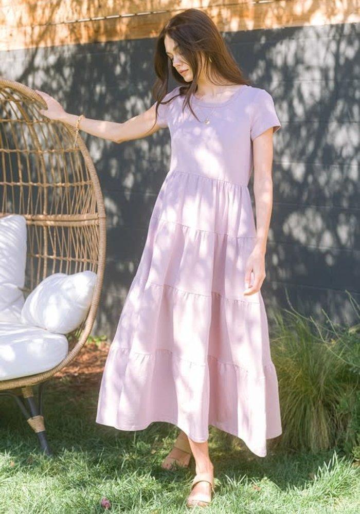 Lavender Tiered Pocket Maxi Dress