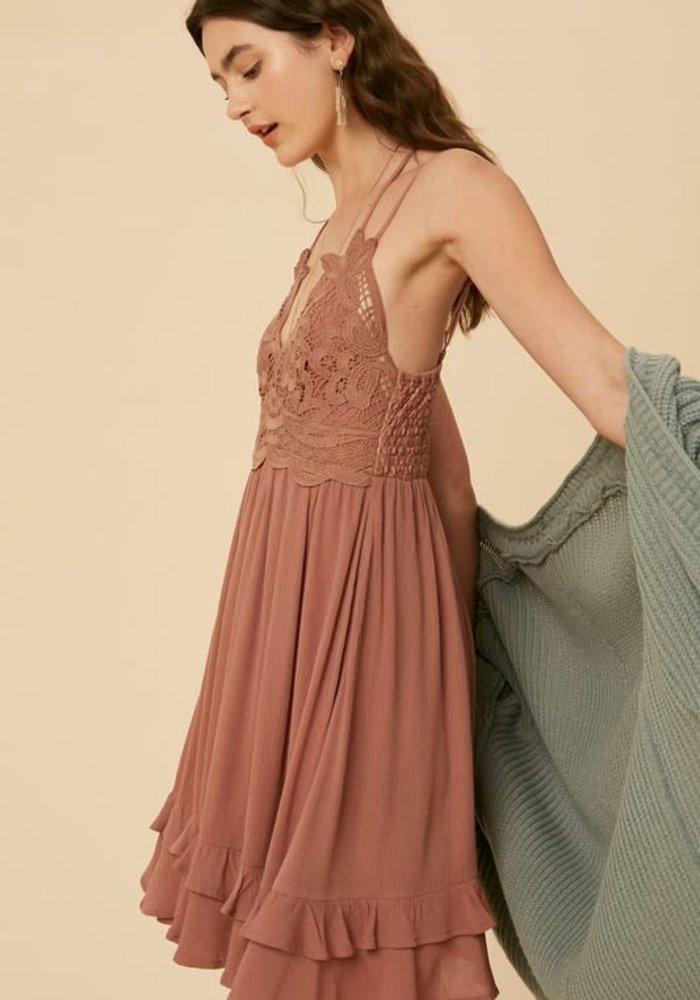 Crocheted Ruffled Pocket Mini Dress