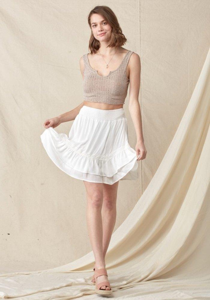 Lace Trim Ruffle Smocked Skirt