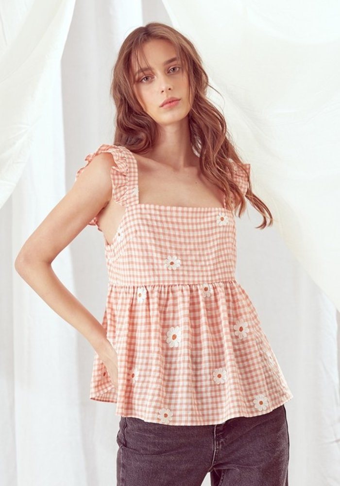 Gingham Babydoll Top with Daisy Embroidery