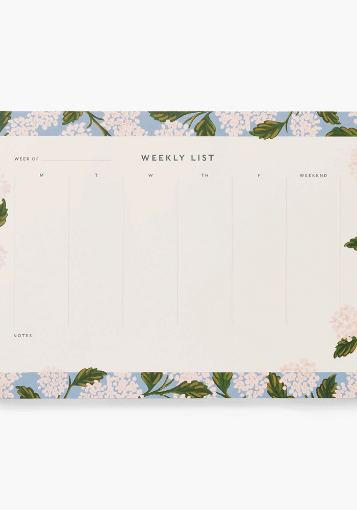 """Hydrangea"" Weekly Desk Pad"