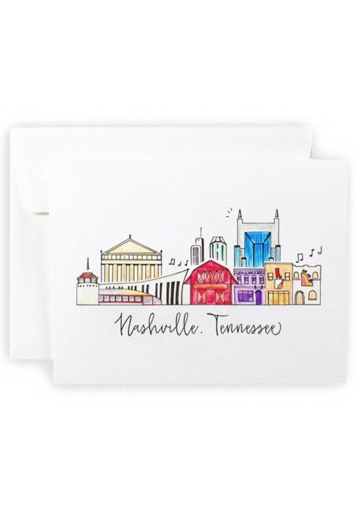 Nashville Watercolor Skyline Greeting Card