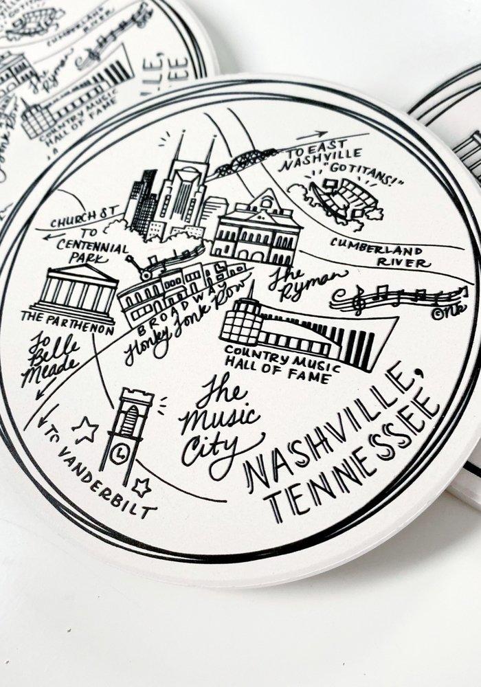 Nashville Map Ceramic Coasters (Set Of 4)