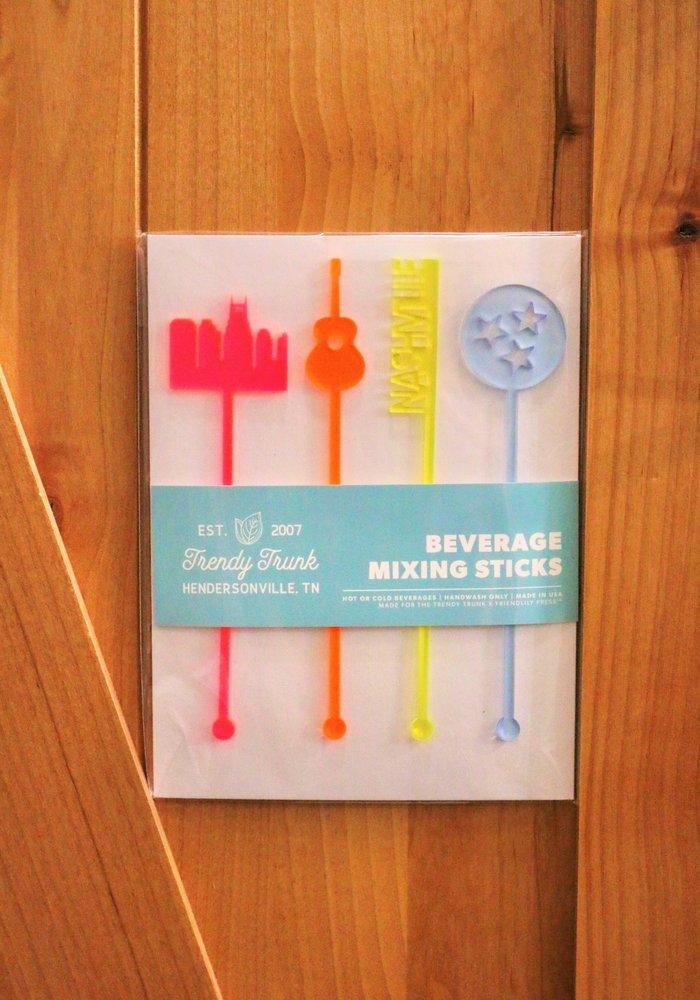 Nashville Neon Reusable Beverage Mixing Sticks