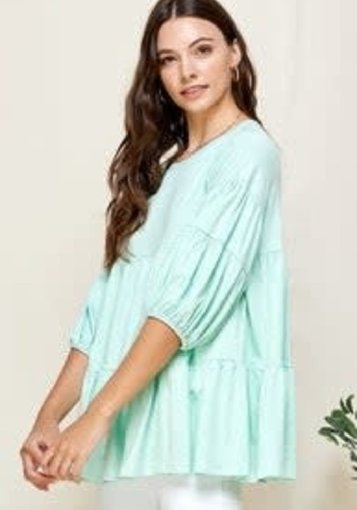 Mint Tiered Babydoll Top