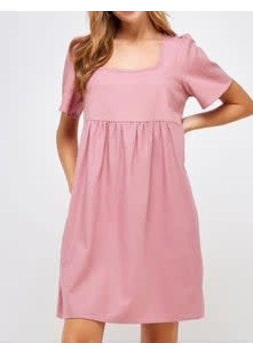 Linen Square Neck Pocket Dress