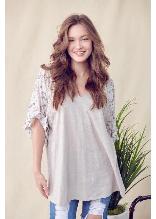 Grey Blossom Sleeve Blouse