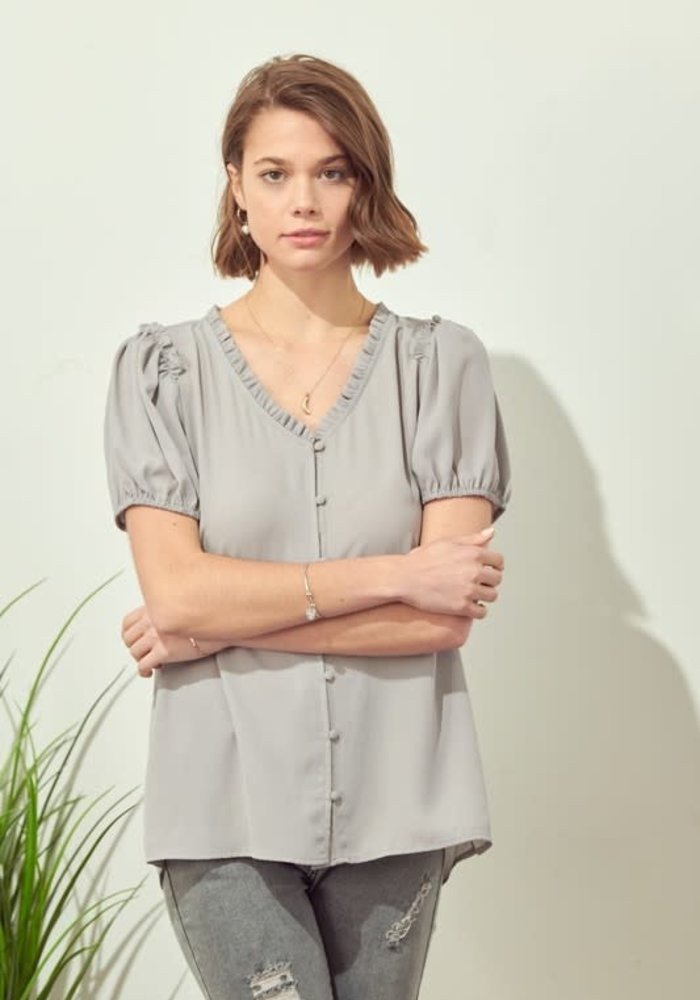 Frill Button Down Blouse