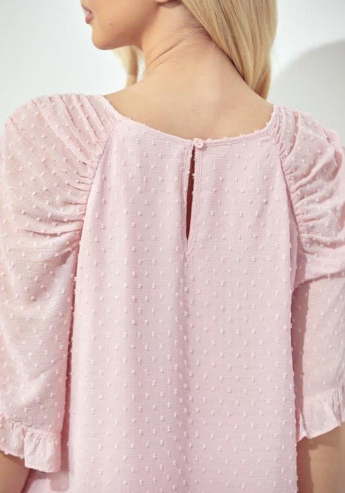 Petal Pink Swiss Dot Blouse