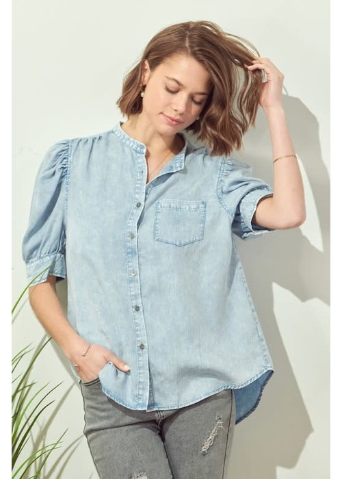Chambray Puff Sleeve Top