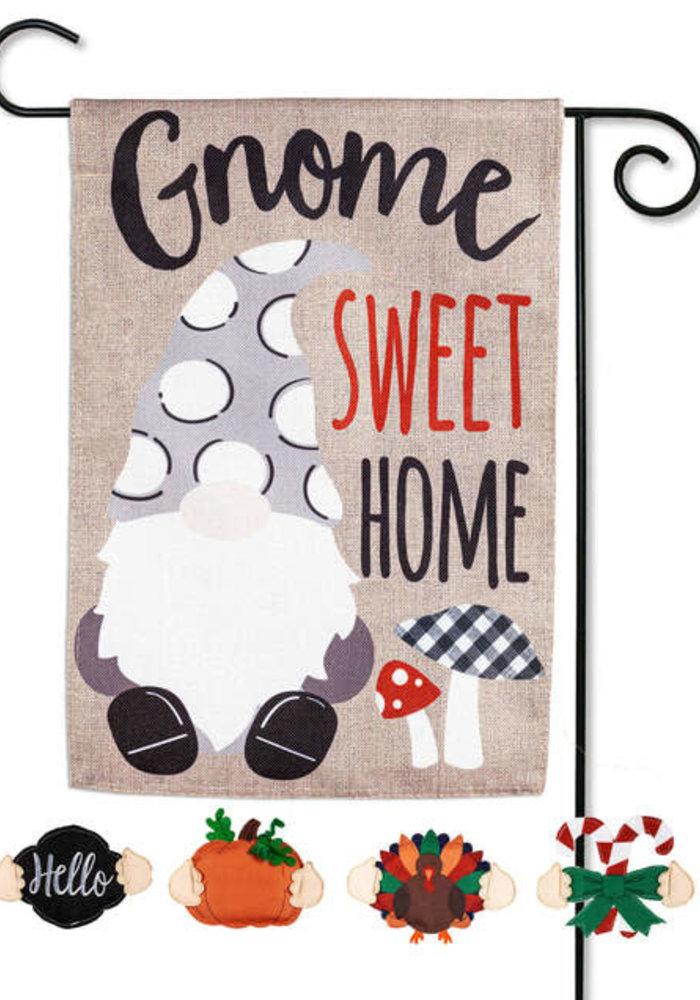 """Gnome Sweet Home"" Interchangeable Garden Burlap Flag"