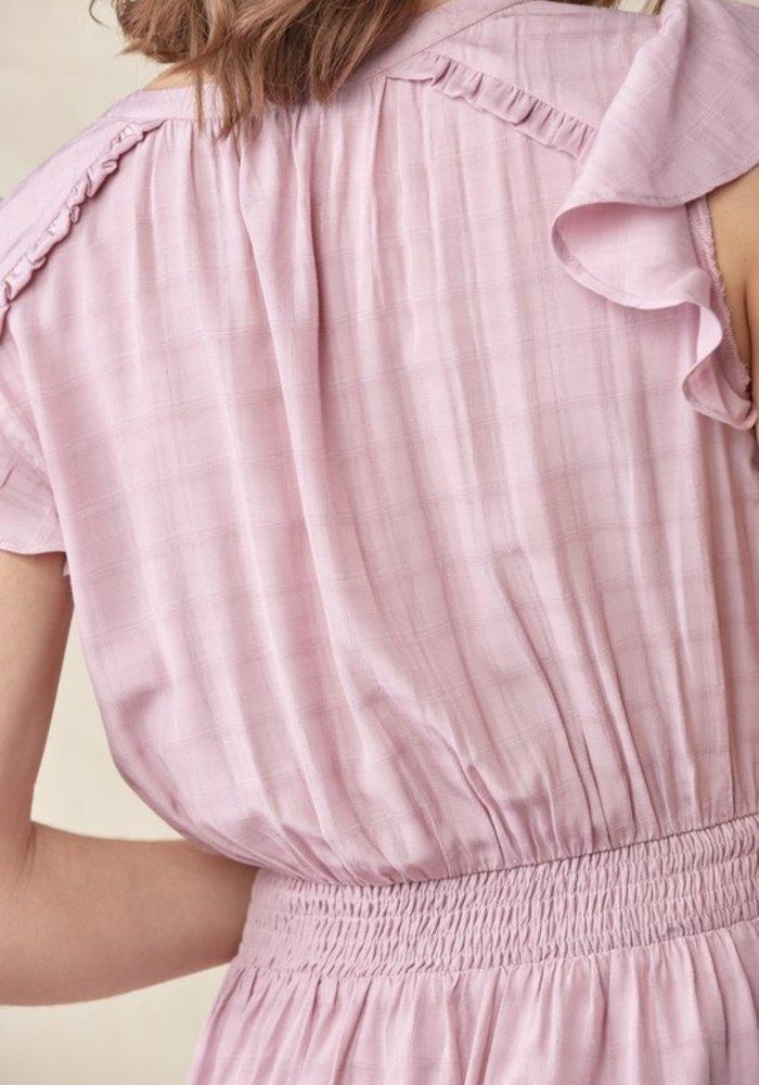 Lavender Flutter Sleeve Dress