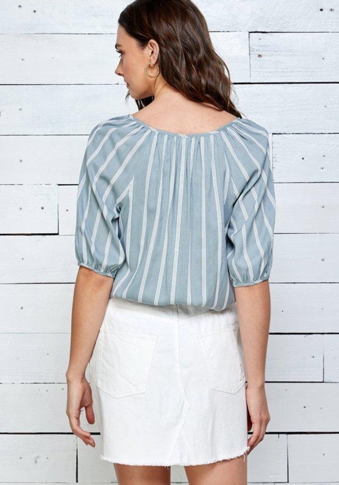 Striped Bubble Sleeve Blouse