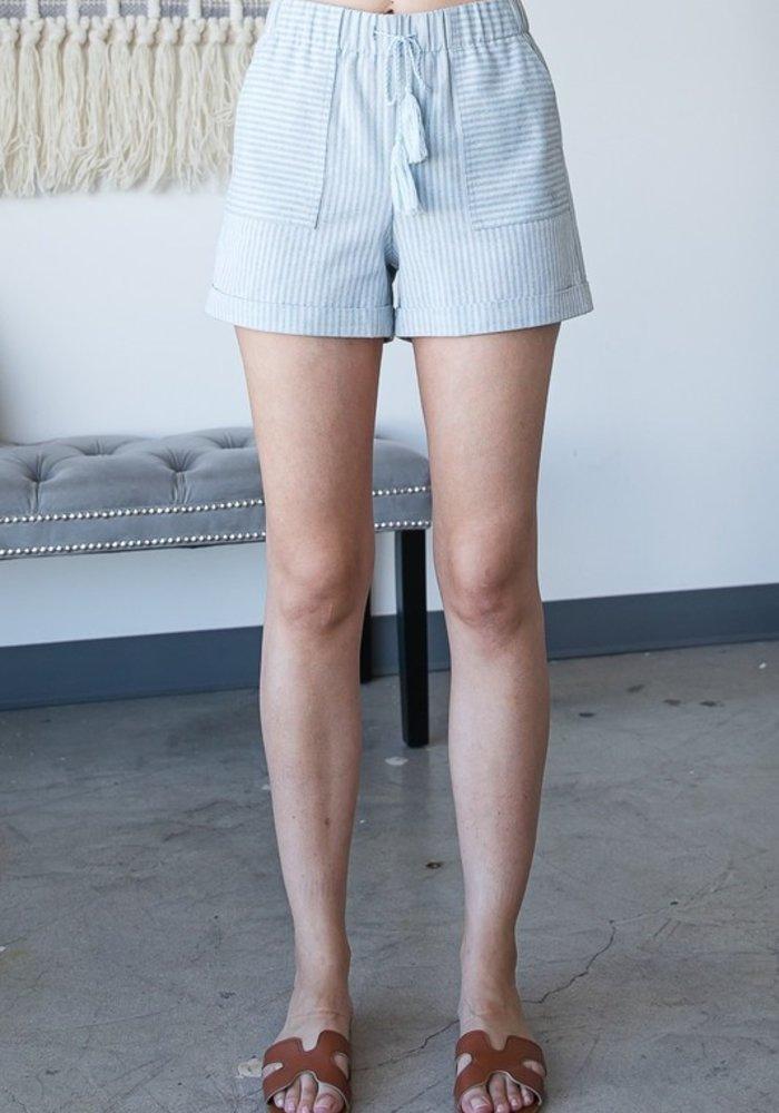 Mint Striped Linen Shorts